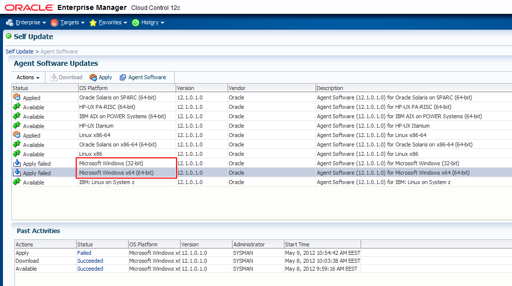 Enterprise Manager Cloud Control 12c released for Windows