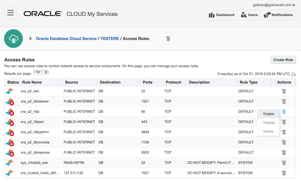 Oracle Database Cloud Service: Set up Access Rules – Gokhan Atil's Blog